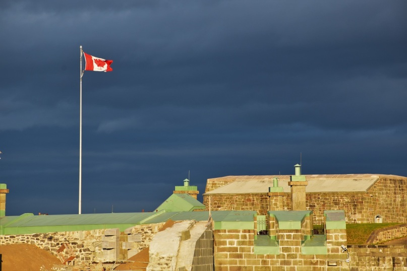 I love the contrast between the dark sky and the bright ramparts on this picture