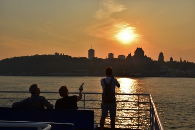 The best moment to cross the St. Lawrence to Lévis is at sunset