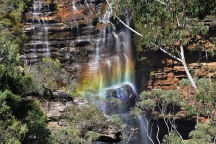 Rainbow, waterfall, Blue Mountains