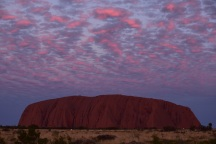 Pink clouds, sunset, Uluru