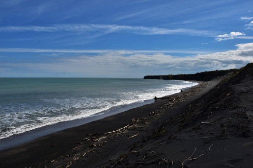 A black sand beach next to Patea