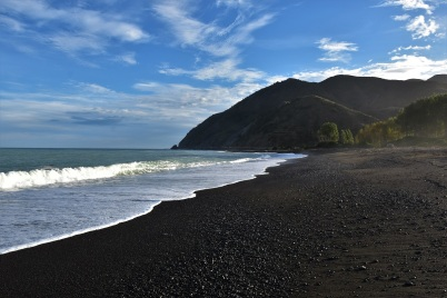 Black sand beach, Kaikoura