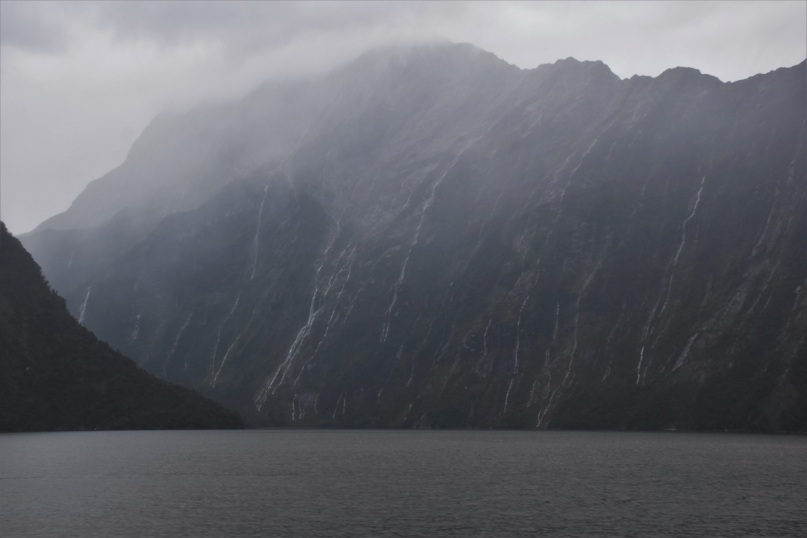 Dozens of waterfalls after the rain, Milford Sound