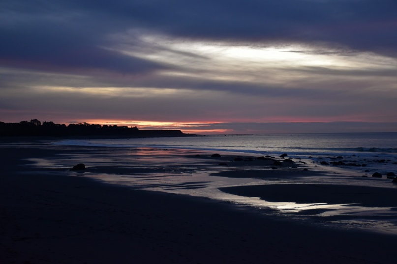 Sunset, beach, New Plymouth