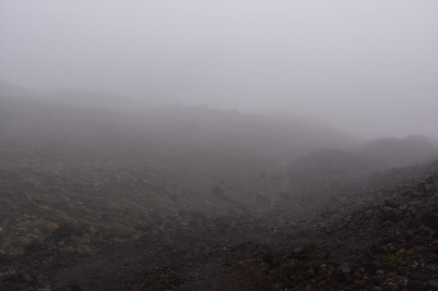 Climbing to the South Crater in the middle of the fog