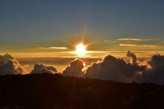 Sunset above the clouds,