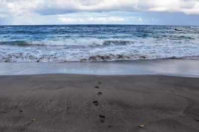 Black sand beach,Road to Hana, Maui