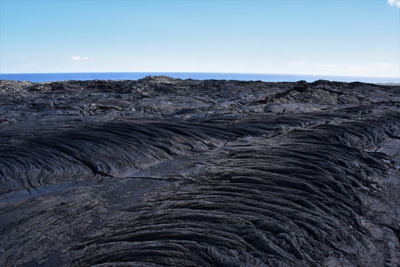 In the middle of solidified lava fields