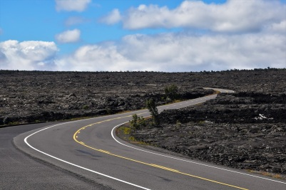 The road winding throught ancient lava fields on the Kilauea