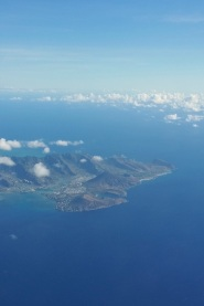 Oahu seen from the plane - you can recognise Hanauma Bay on the bottom