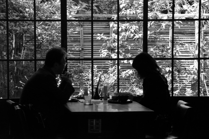 Restaurant, black and white, Miyajima