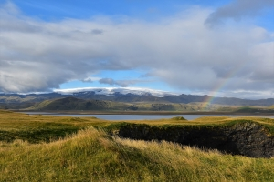 Mountains, glacier, rainbow, Iceland