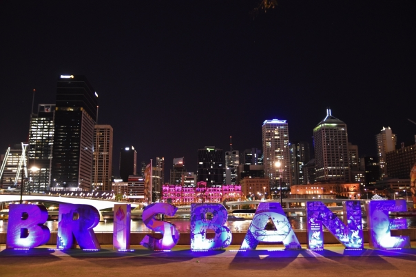 Brisbane sign, night