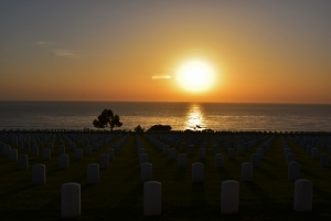 Point Loma cemetery in San Diego, sunset