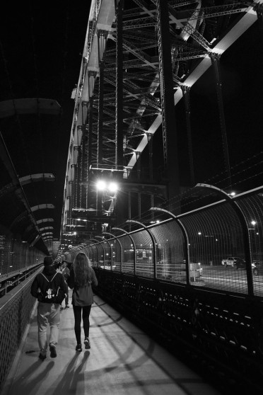 Harbour Bridge, night, black and white