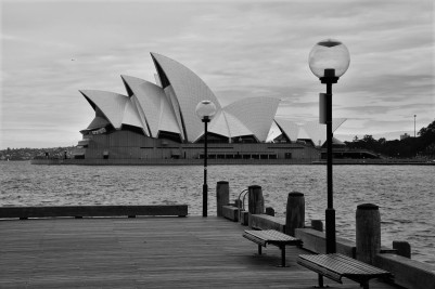 Sydney Opera House, black and white
