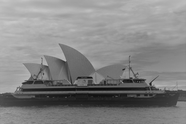 Sydney Opera House, ferry, black and white
