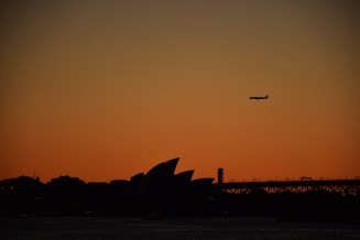 Sydney Opera House, sunset, plane