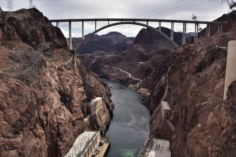 Mike O'Callaghan-Pat Tillman Memorial Bridge, Hoover Dam, Colorado River