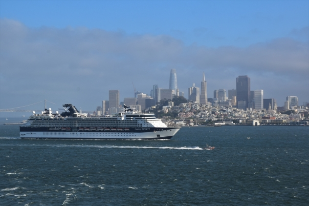 A cruise ship leaving San Francisco