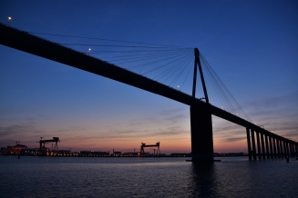 Bridge of Saint-Nazaire, sunset