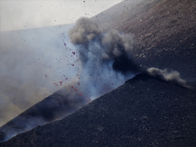 Melted lava erupting from Mount Etna
