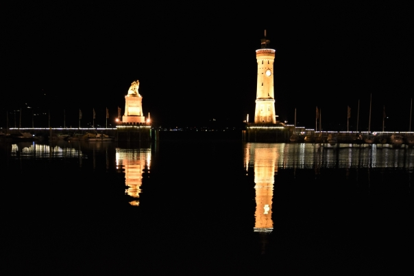 Lindau, harbour, night