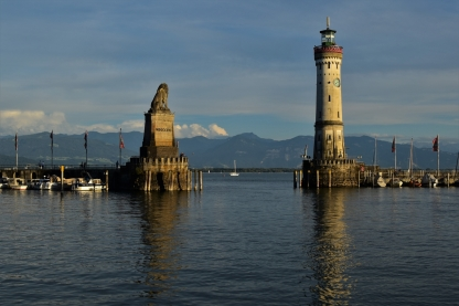 Lindau, harbour, lighthouse, Bavarian Lion