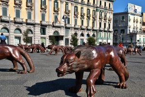 Naples, Piazza del Municipio, wolves sculptures