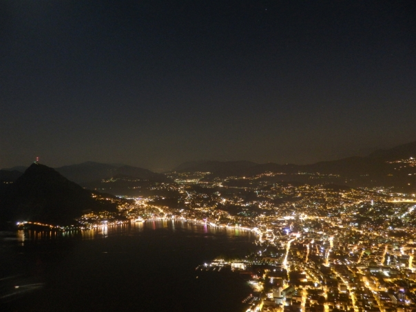 Lugano by night from Monte Brè