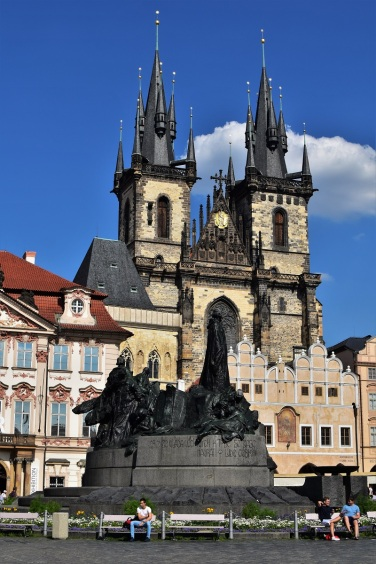 The Jan Hus Memorial on the Old Town Square of Prague