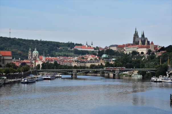 The Vltava River with the Prague Castle and St. Vitus cathedral to the right