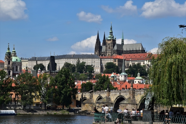 Charles Bridge, the Prague Castle and the St. Vitus cathedral