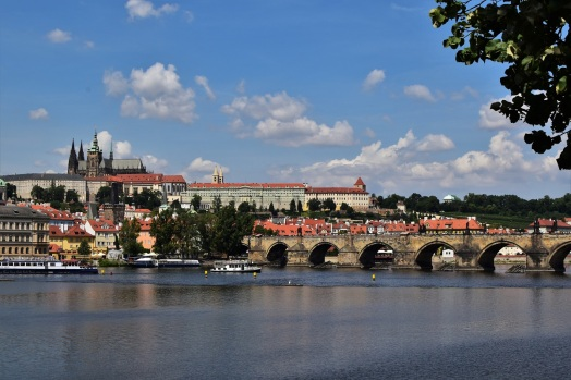 Prague, Vltava river, Charles Bridge, castle, cathedral
