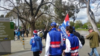 Western Bulldogs supporters heading to the Melbourne Cricket Ground for the AFL Grand Final