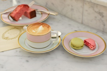 Coffee and macarons at Ladurée in Melbourne