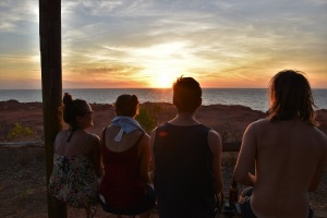 Watching the sunset with friends at Cape Leveque