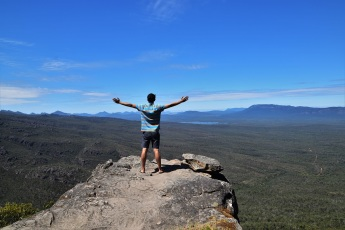 Celebrating the gorgeous view at the Grampians