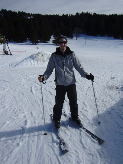 My first and only attempt skiing... before falling!